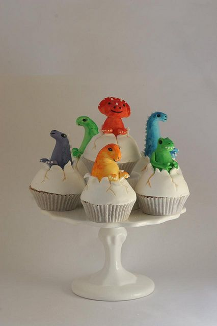 Dino cupcakes - but with plastic toys so the kids can take them home. I call that a two-fer.