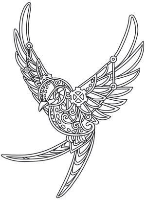Bring a bit of steampunk's fearless spirit to everyday clothing and decor with this swallow design! Downloads as a PDF. Use pattern transfer paper to trace design for hand-stitching.