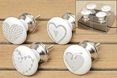 4er Set Möbelknauf Möbelgriffe Möbelknopf  Herzen aus Porzellan weiß
