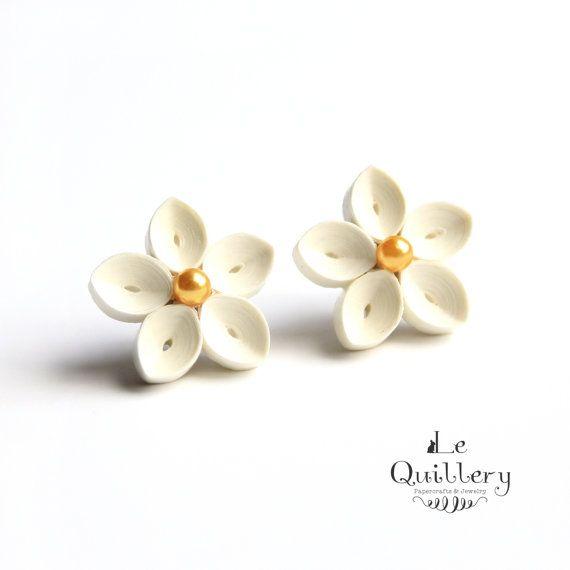Ivory Flower Earrings - Handmade Quilling Paper Jewelry - Hypoallergenic Titanium Post Earrings