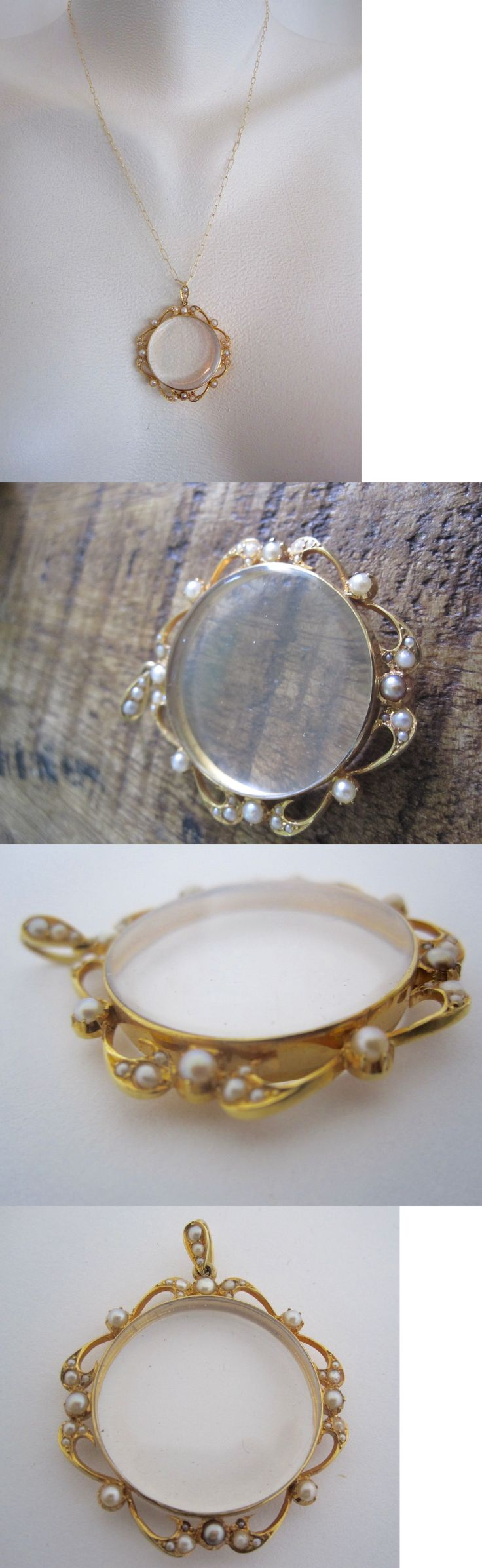 Other Fine Jewelry 1930s-1980s 91438: ~~*14K Solid Yellow Gold Magnifying Glass Pendant With Pearl Accents*~~ BUY IT NOW ONLY: $465.0