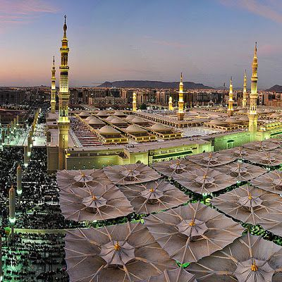 The Prophet's Mosque (Masjid-e-Nabawi), Medina, Saudi Arabia. It is the second holiest site in Islam (the first being the Masjid al-Haram in Mecca).