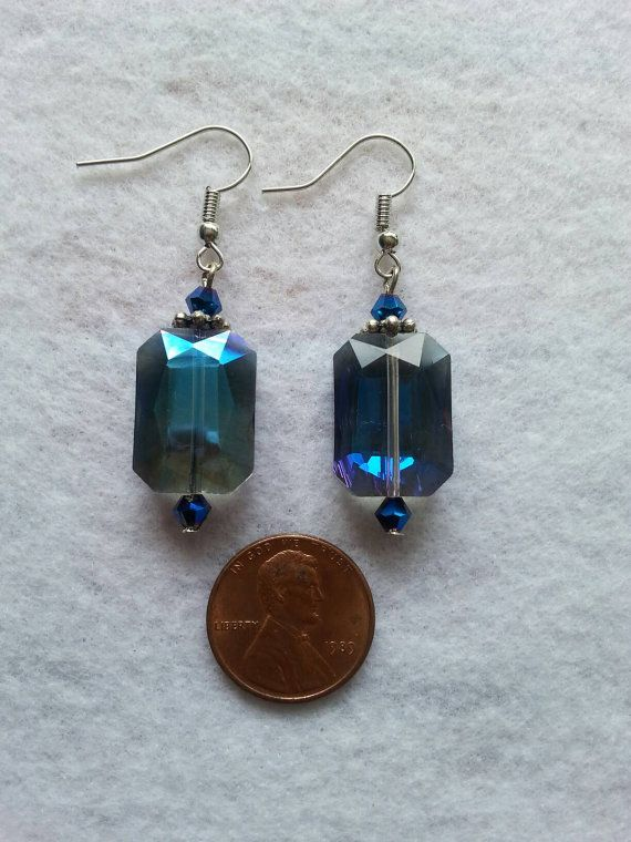 Items Similar To Blue Toned Crystal Earrings Dangle Drop On Etsy