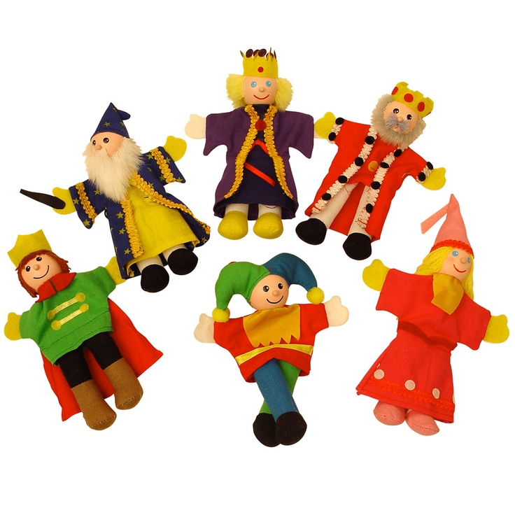 "These beautiful wooden finger puppets form the basis of any great fairy story - the Royal family. Complete with king, queen, prince, wizard, princess and court jester, re-enact the story of ""Sleeping Beauty"", ""King Arthur"" or your child may even want to make up their own play!"