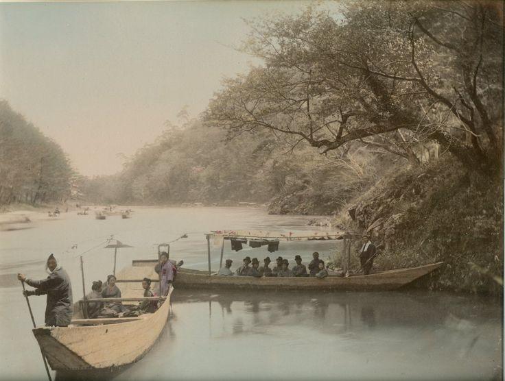 "Boating on lake Nikko, ca. 1885    Note a funny boat full of ""gentlemen"""