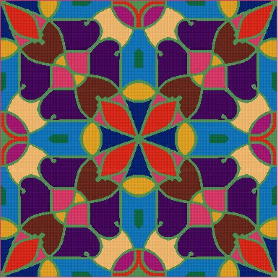 digital instant download cross stitch pattern pdf chart modern xstitch Blue Green cushion cover housewarming gift modern decor abstract