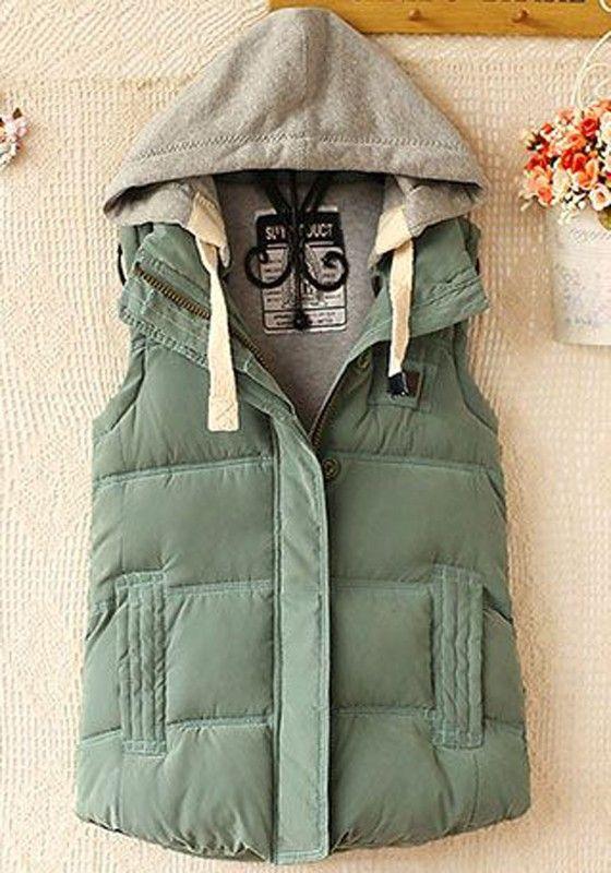 Green Plain Pockets Hooded Vest
