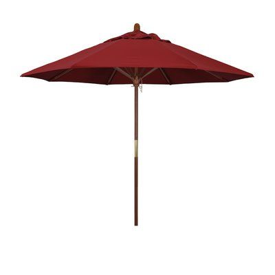 Darby Home Co Fretwell 9' Wood Market Umbrella Fabric: Pacifica Red