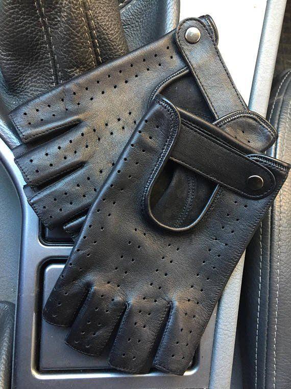 Fingerless+leather+gloves+for+men/+lambskin+leather+gloves/+driving+gloves+7,5+inches+S