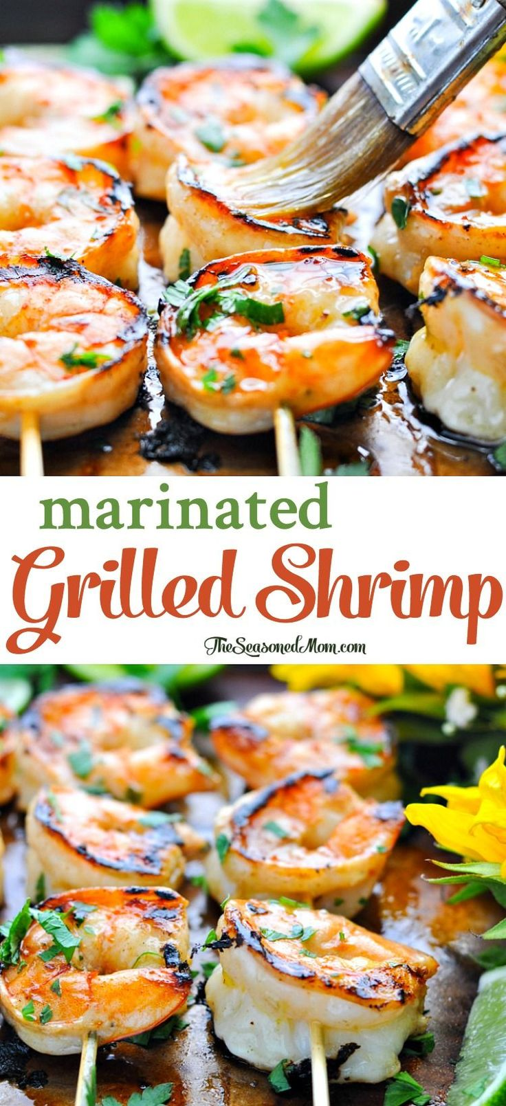 Marinated Grilled Shrimp: 3/3*, easy, flavorful marinade that is simply delicious! Definite keeper, marinated the shrimp for ~45 mins, next time go a little longer for more flavor. Grilled 5-6 mins. Served w/sautéed spinach and marinated cucumber tomato salad. Made 7/15/17