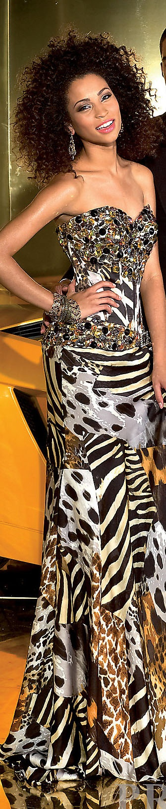 exquisite mixed animal print strapless gown. Stunning. Form fitting.