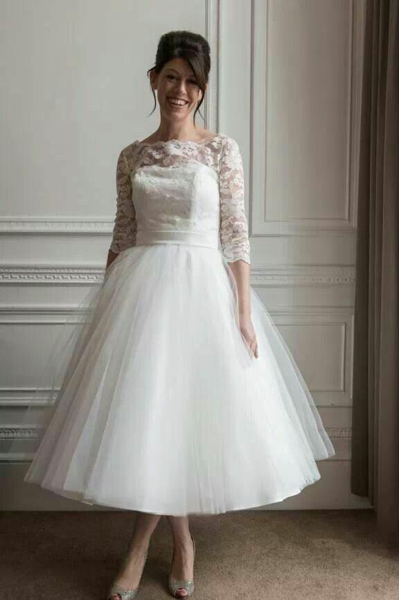 2e05c4839e Lace Tulle Tea Length Wedding Dresses with Sleeves   Yes to The Dress   Tea  length wedding dress, Wedding dresses, Wedding dress sleeves