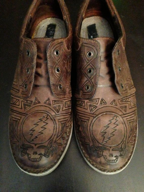 Customized Men S Grateful Dead Leather Shoes By Gratefullycrafted