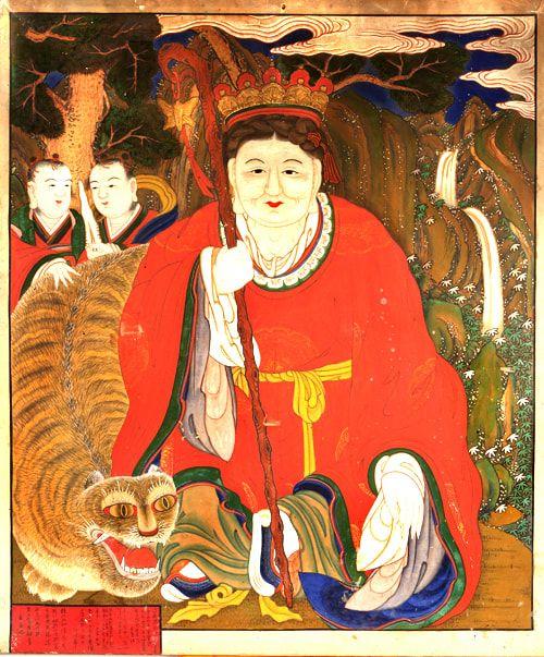 Mushindo ( 무신도 巫神圖)- Sanshin Grandmother 산신할머니 - female form of the Mountain Spirit