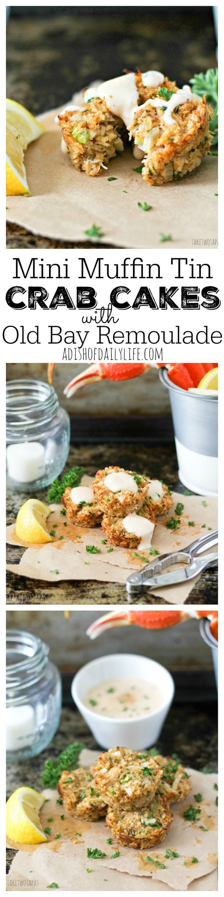 Crab cakes are a great appetizer or main dish for dinner! This Muffin Tin Crab Cakes recipe is full of lump crab meat and have the right amount of spice! Drizzle with Old Bay Remoulade for a treat that will take you to the sea!