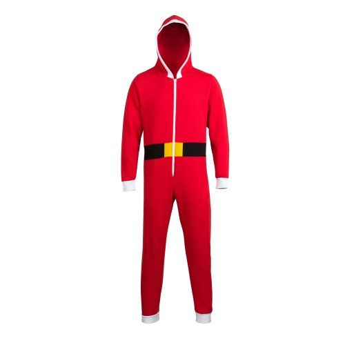Comfy Co Unisex Christmas Santa Hooded All In One Onesie (280 GSM) (M) (Red/White) White zip through front.. Easy tear out back neck label for simple rebranding.. Baggy fit for maximum comfort.. Incredible warmth.. Ideal lounge wear..  #Comfy #Apparel