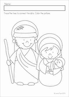 Christmas Nativity Preschool Math and Literacy No Prep worksheets and activities. A page from the unit: fine motor practice. Have children color the picture, outline with glue and sprinkle over with glitter for a fun activity.