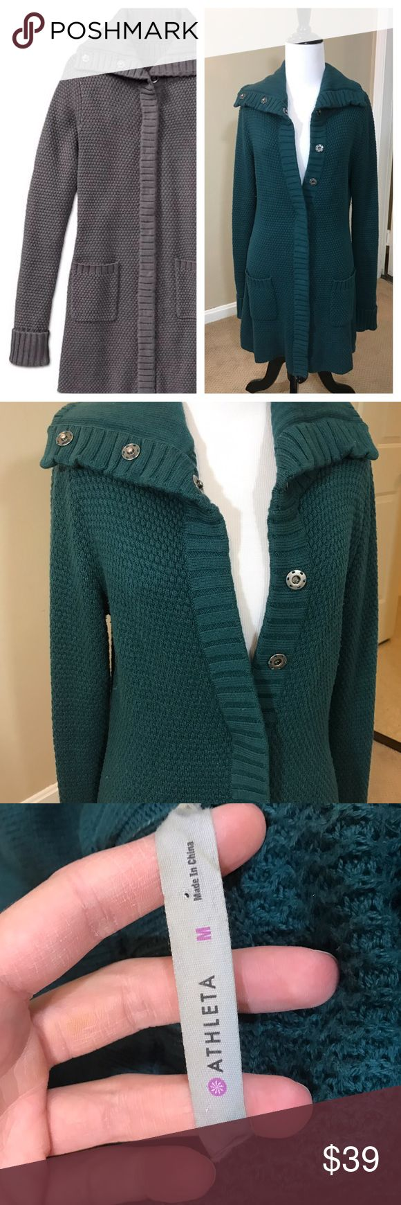 Athleta 'Sula' Long Sweater Coat Snap Front Athleta Sula sweater. Long cut, could be worn as a jacket. Snap front. Forrest Green. Cotton blend. No flaws. Size medium 💕 Athleta Sweaters