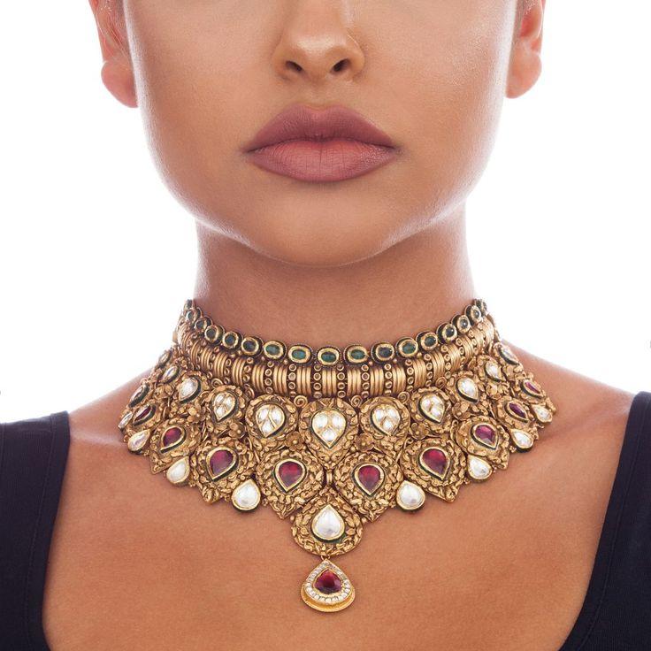Large Tourmaline and White Kundan Antique Necklace