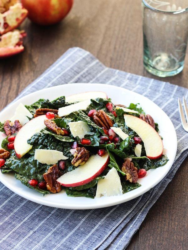 Pomegranate Kale Salad with Maple Glazed Pecans