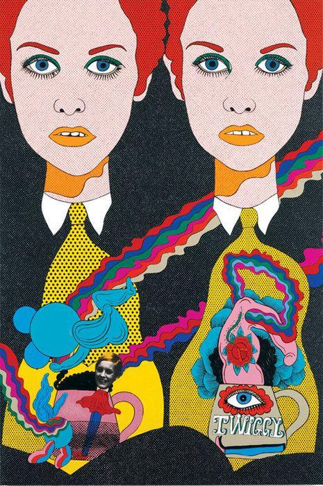 Twiggy / fashion / retro / vintage / psychedelic   /  60's / art / poster / print / illustration