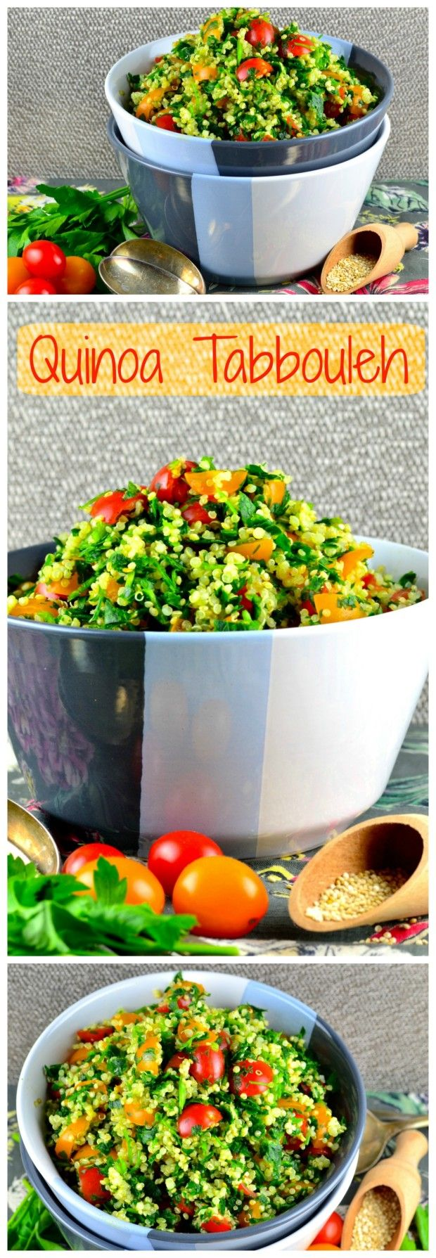 Quinoa Tabbouleh - New and exciting not only for passover recipe.  Using quinoa instead for Bulgur wheat in the recipe, makes this tabbouleh salad gluten free, healthy, vegetarian, vegan and higher in protein.