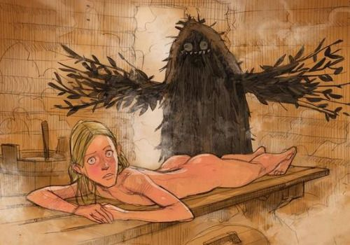 lemmiwinx-gerbil-king:  I don't know the source, sadly. Please, if you know the author, tell me!I think, it's related to the creature from Russian folklore, called bannink. That's kind of a hobgoblin or brownie, who inhabits banya,a steamy Russian bathhouse. Normally bannik simply takes care of the bathhouse, but if the people are disrespectful to him, this creature can be scary…