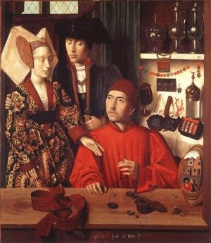 1449 by Petrus Christus. A medieval workshop. ~S  http://www.medievalists.net/2014/08/04/purchasing-power-parity-hold-medieval-europe/  #money #medieval