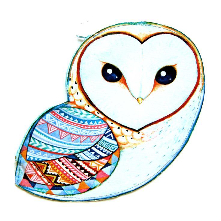 Barn Owl Bird Shaped Vinyl Animal Themed Clutch Bag With Geometric Print | DOTOLY