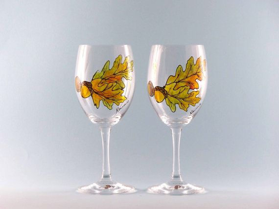 Hey, I found this really awesome Etsy listing at https://www.etsy.com/listing/200517312/hand-painted-fall-wine-glasses-hand