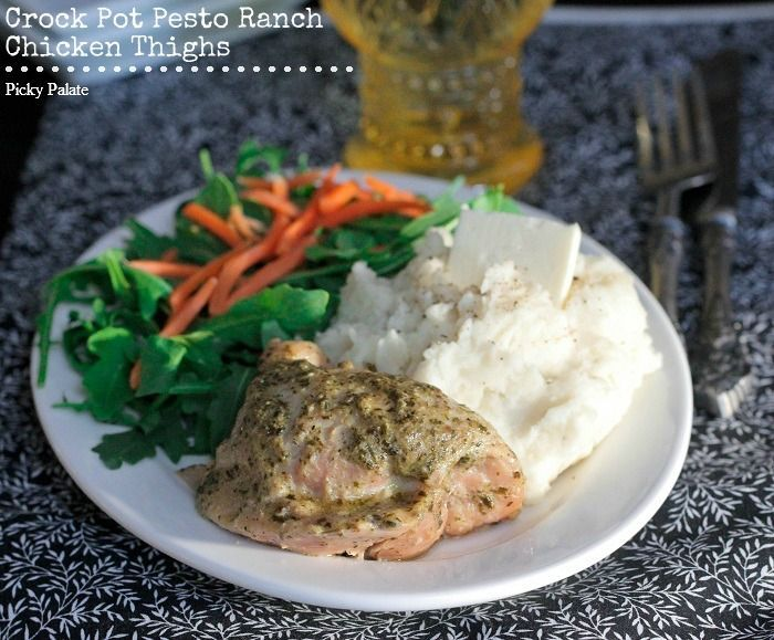 Pesto Ranch Crock Pot Chicken Thighs - Picky Palate