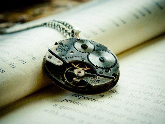 Steampunk Necklace - Antique CYMA Watch Movement - Spring Sale. $40.00, via Etsy.