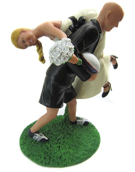 Custom Rugby Wedding Cake Topper