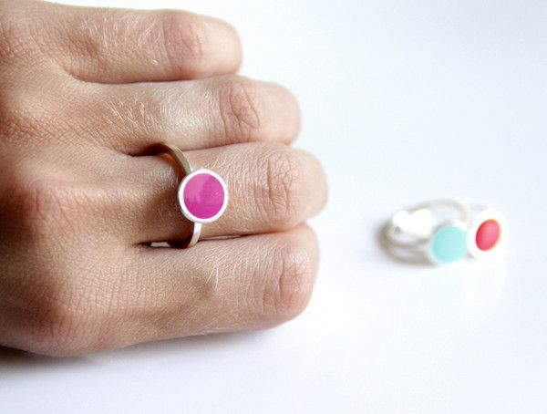 Sterling Silver Ring with A Small Colored Dot - Thin Band Stackable Ring