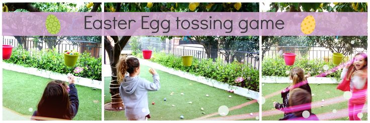 Easter egg tossing game! All you need is: an assortment of plastic eggs, two buckets & some string. Hang the buckets from a tree & put the eggs in a container. Separate kids into 2 teams & have them pick an egg, run to their bucket & throw the egg in their bucket! The winning team is the one that has filled their bucket. Also count the eggs as the game is finished so they can practice counting too!