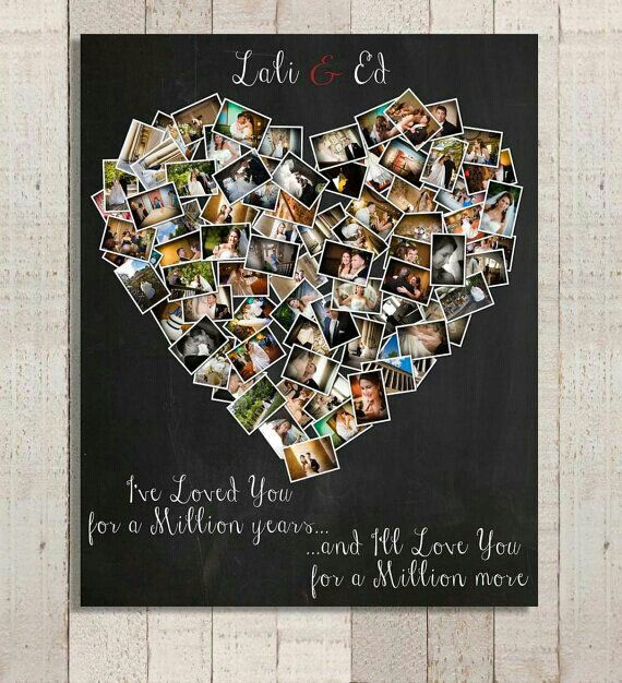 ideas for homemade picture collages - DIY Memory photo heart collage DIY ideas
