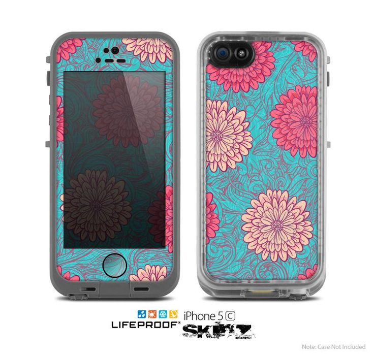 The Pink & Blue Floral Illustration Skin for the Apple iPhone 5c LifeProof Case from Design Skinz. Saved to Skinz you'll LOVE..