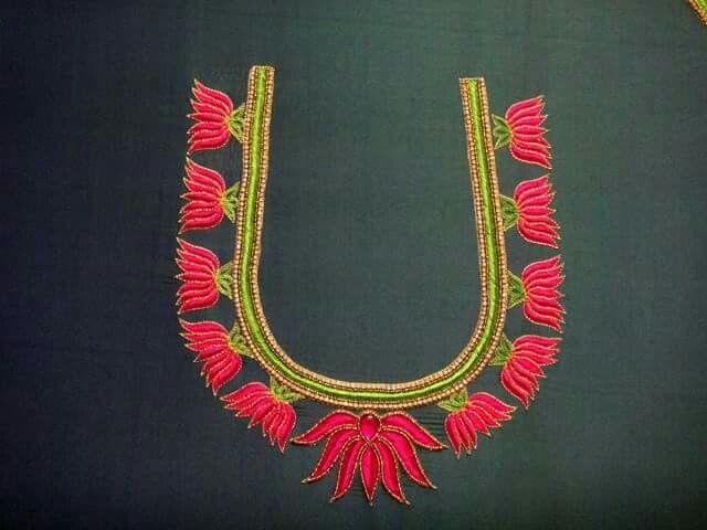 Lotus motif thread embroidery