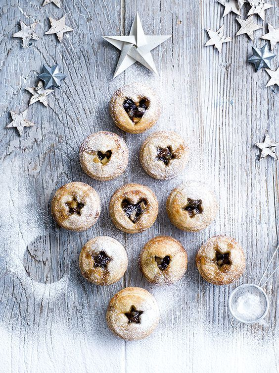 Mince pies with shortbread pastry - christmas tree design, hearts and stars