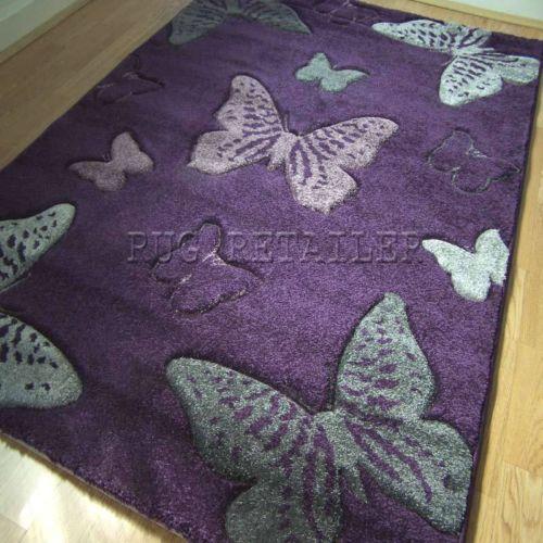Select Erfly Purple Grey Modern Quality Wilton Rugs 120x170cm Ebay