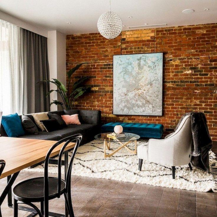 50 Unique Farmhouse Living Room With Brick Wall Decoration Ideas