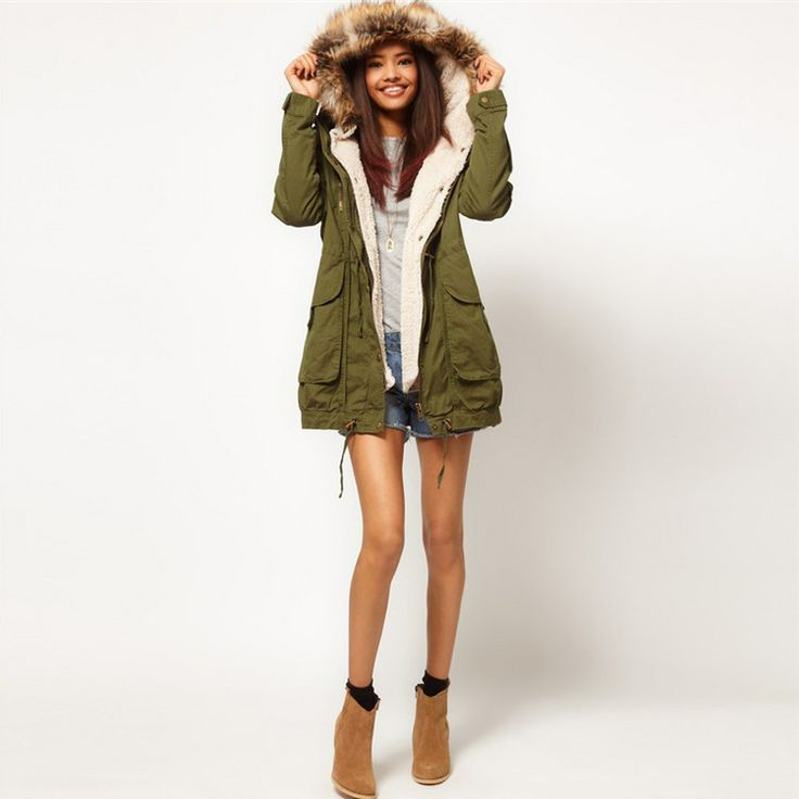 Womens Army Green Winter Coats Hooded Garments Fur Collar Detachable Brand Parka | eBay