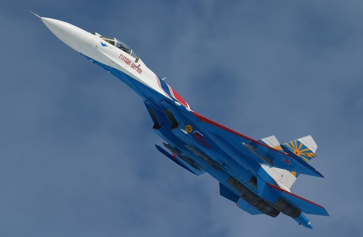 "Su-27 Flanker ""russian Knights"" aerobatic team."