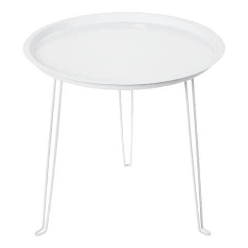 Table ronde métal blanche