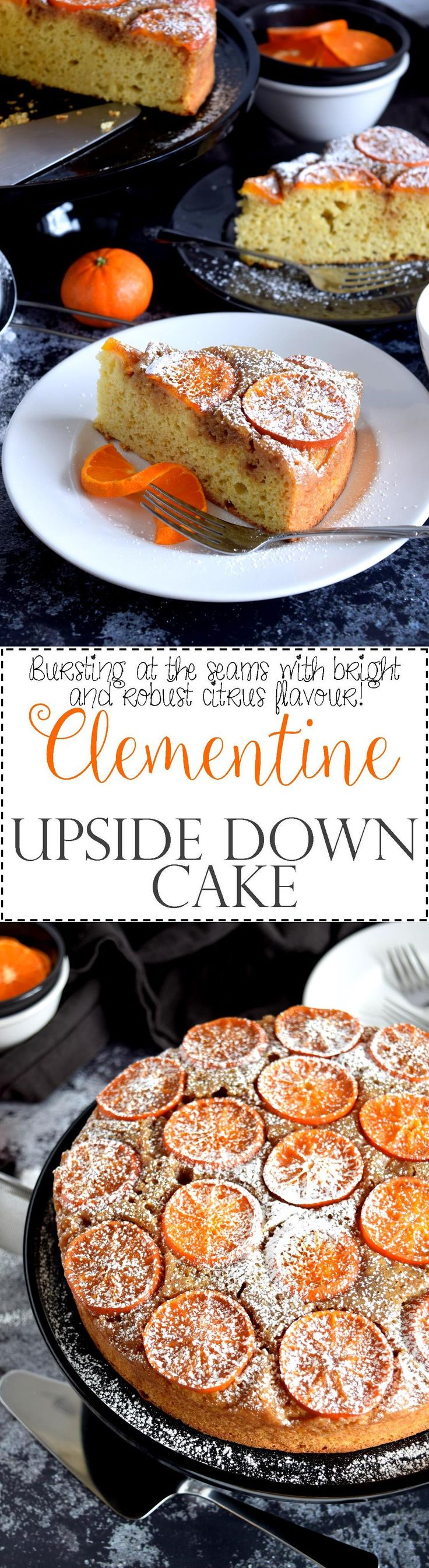 Clementine Upside Down Cake - Cakes do not need frosting and fancy decorations to be pretty and presentable.  Clementine Upside Down Cake is very citrus-y, very easy to make, very rustic, and very gorgeous!  A great dessert option for a dinner party!