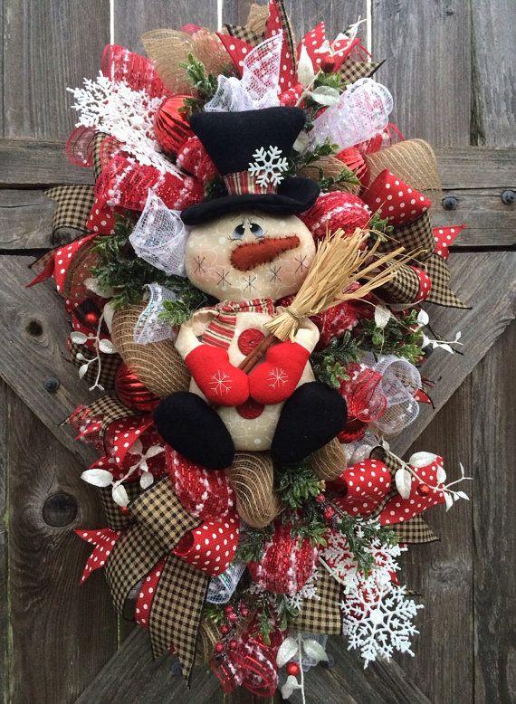 Christmas Wreath, Rustic Christmas Wreath, Snowman Wreath, Primitive Christmas…