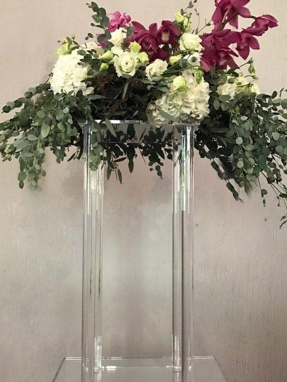 Acrylic Modern Rectangle Stand Geometric Vase Acrylic