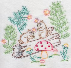 Chipmunks Picking Flowers (Vintage)