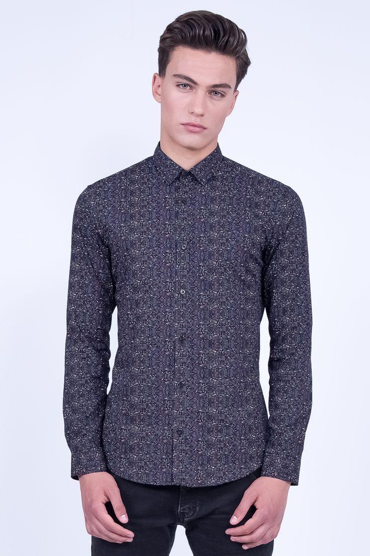 Slim Fit Black Shirt In Microdesigns