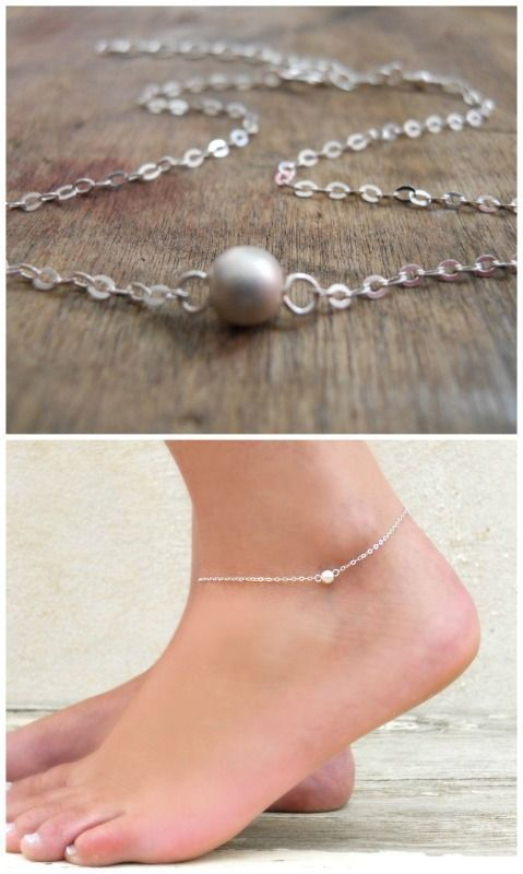 Beautiful minimal silver bead anklet
